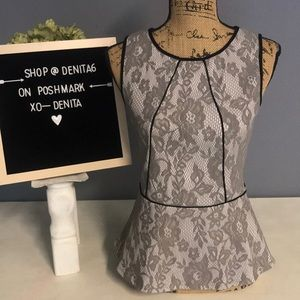 Anthropologie Sparrow Lace Peplum Sleeveless Top